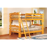 Kings Brand B127H Wood Convertible Bunk Bed, Twin, Honey Oak Finish
