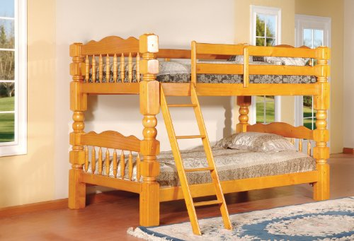 King's Brand B127H Wood Convertible Bunk Bed, Twin, Honey Oak Finish