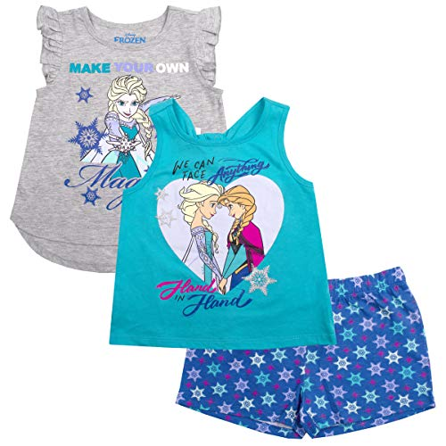Disney Girls 3PC Shirts and Short Set: Wide Variety Includes Minnie, Frozen, and Princess (Disney Princess Toddler T Shirt)