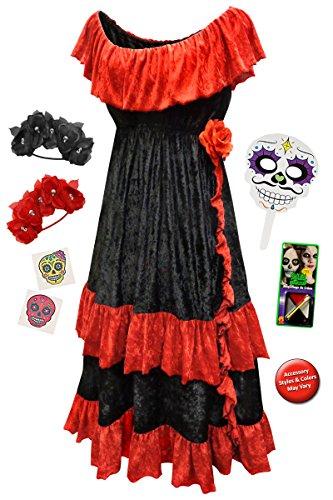 Halloween Costumes 5x (Dia de los Muertos Plus Size Halloween Costume Basic Kit 5x)