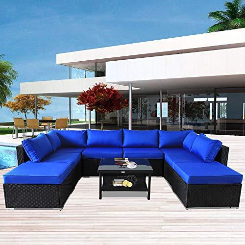 Leaptime Patio Furniture Sofa Garden Couch Set 9pcs Black PE Rattan Sofa Outdoor Sectional Sofa Deck Conversation Furniture Set Royal Blue Cushion