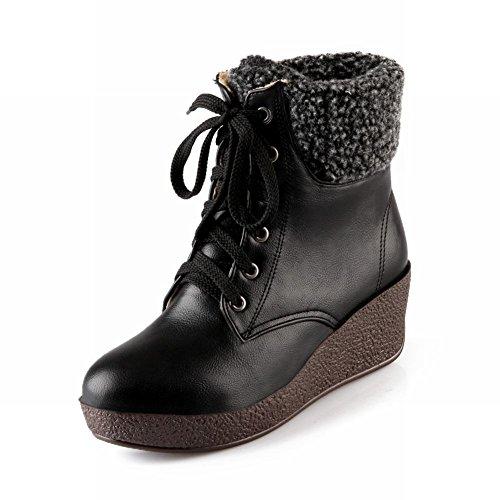 Carol Shoes Women's Western Mid-heel Wedges Turnover-cuff Short Boots Black r8Ln0Ye4