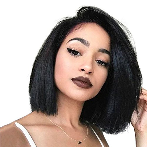 Beauty : Cici Collection 250 Density Lace Front Wigs Human Hair With Baby Hair Brazilian Virgin Hair Straight Short Bob Wigs For Black Women 12inch