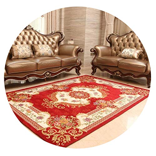 lovehouse21 300 X 400 cm European Style Delicate Large Carpets for Living Room Bedroom Study Room Kid Room Carpet Soft Carpet for Home Floor Area,Red Wine,1400X2000MM