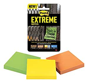 Post-it Extreme Notes, Water Resistant, Engineered for Tough Conditions, 3 Pads, Green, Yellow, Orange