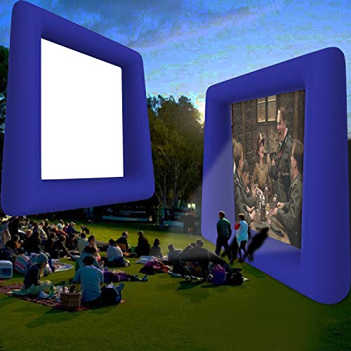 [ US Stock ] 14ft Inflatable Mega Movie Screen, Canvas Projection Screen for Home Theater, Gaming, Office, Outdoor Parties with Storage Bag and Tie-Downs Lightweight & Fully Equipped (Blue1)