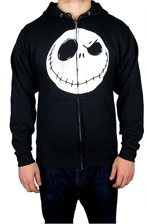 amazoncom disney nightmare before christmas mens zip up hoodie small black clothing - Christmas Hoodie