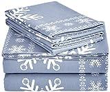 Pinzon 170 Gram Velvet Flannel Sheet Set – Full, Snowflake Dusty Blue
