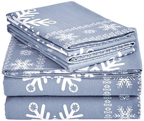 Pinzon Cotton Flannel Bed Sheet Set - King, Snowflake Dusty Blue