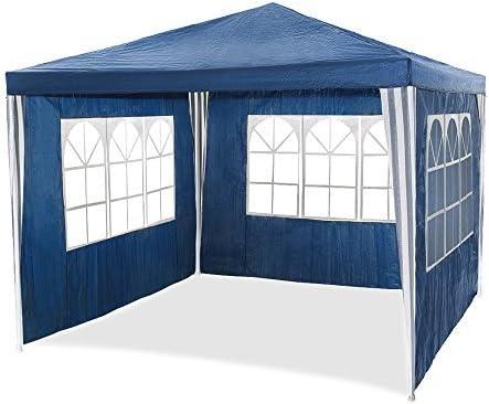 Carpa de jardín para fiestas impermeable de 3 x 3 m de HG®, carpa para eventos, camping o asociaciones de alta calidad con tubos de acero, azul: Amazon.es: Jardín