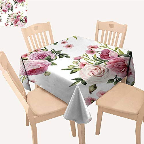 (UHOO2018 Printed Fabric Tablecloth Square/Rectangle Flowers Leaves be use as Greet car Invitation Wedding Party Restaurant,23 x)
