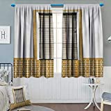 Anhounine Country,Blackout Curtain,Image of Modern Spanish Window and Shutters with Mosaic Patterns Urban City Life,Blackout Draperies for Bedroom,Brown White,W63 x L72 inch