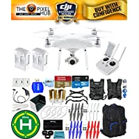 DJI Phantom 4 Advanced Drone MEGA Ready To Fly EXTREME ACCESSORY BUNDLE With 2 Batteires (Total), Vest Strap, Extra Props, Landing Pad, Filter Kit Plus Much More (Black/Blue Backpack)