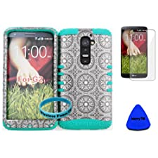Wireless Fones TM Slim Fit Hybrid Dual Layer Grey Circular Pattern Case Cover for LG G2 AT&T T-MOBILE SPRINT D800 D801 LS980 (NOT FOR VERIZON) on Teal Skin with Screen Protector,pry Tool and Wristband.