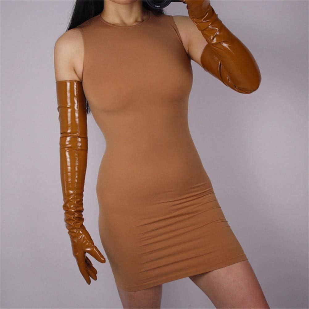 Fnito Winterhandschuhe Lackleder PU Handschuhe Damen Einfarbig Leder Hell Leder Braun Damenhandschuhe Cosplay Dance Party