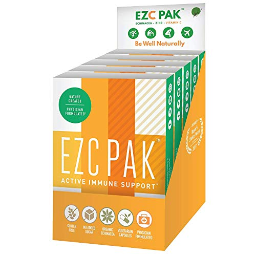 EZC Active Pak Immune System Booster (Pack of 6) – Echinacea, Zinc, and Vitamin C, Gluten-Free Vegetarian On-The-Go Immune Support Pack