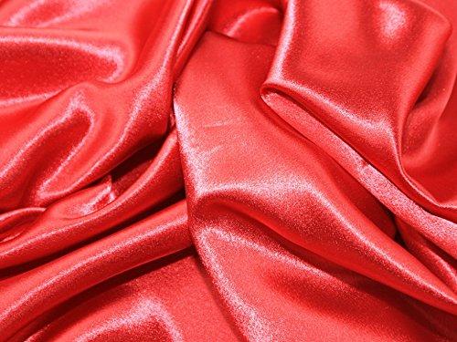 (Satin Backed Crepe Bridal Fabric Red - per metre)