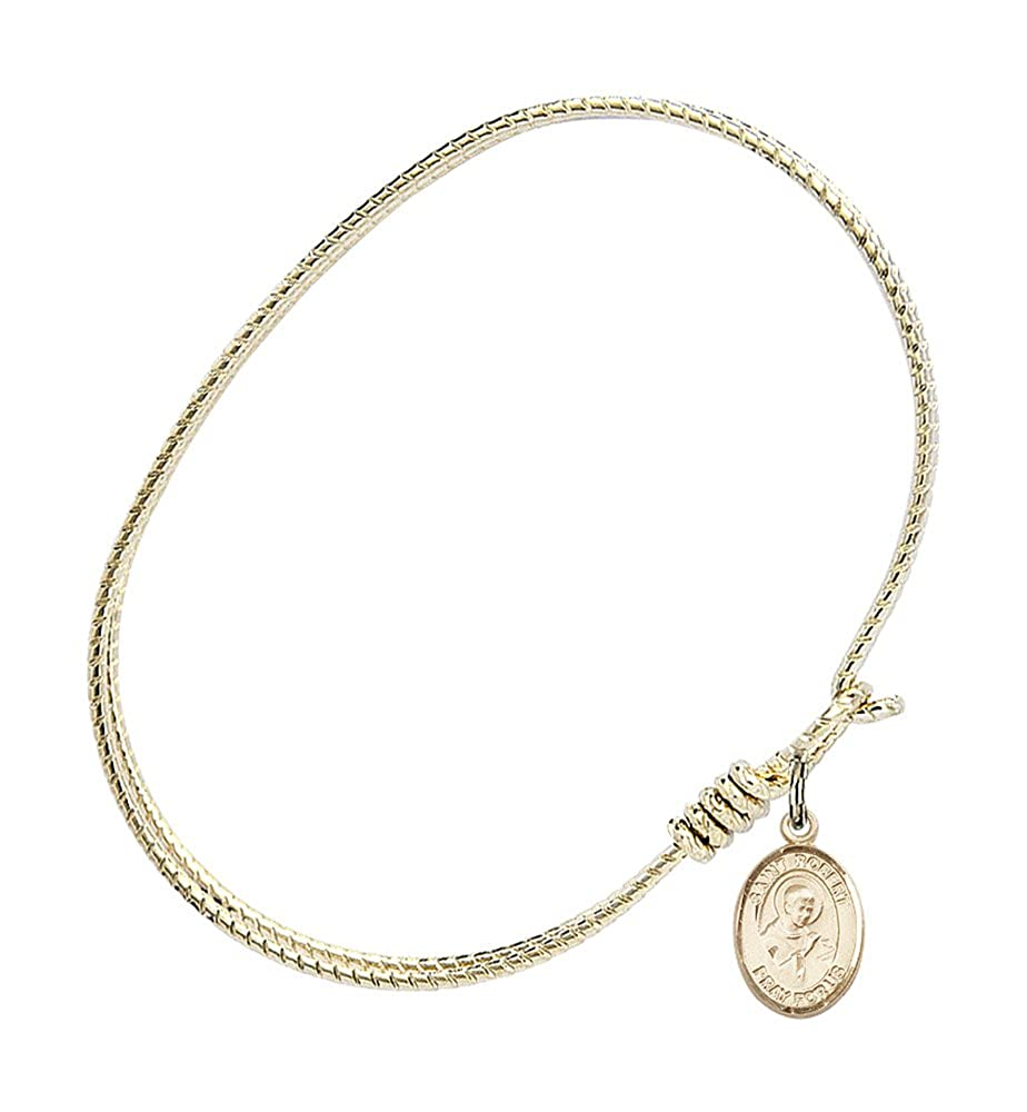 St Robert Bellarmine Charm On A 7 1//4 Inch Oval Eye Hook Bangle Bracelet