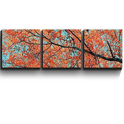 3 Square Panels Contemporary Art Orange leaves on tree branches Three Gallery ped Printed Piece x3 Panels