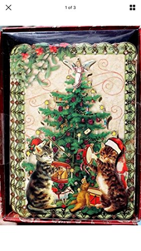 Punch Studio Boxed Set of 10 3D Embellised Cards ~ (Kitty Christmas Card)