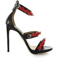DSQUARED2 Lüks Moda Kadın HSW009704600001M002 Siyah Deri Sandalet | Sonbahar-Kış 19