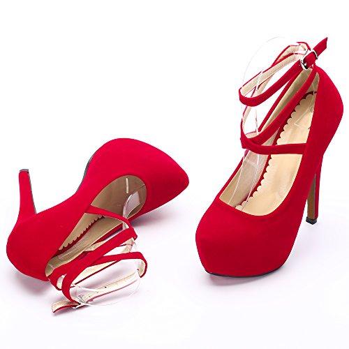 Da Piattaforma Tallone Vestito Cinturino Stiletto Della Pompa 10 Alla unico Caviglia Donne Beige Partito Rosso FC1Exqpqw