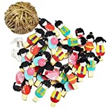 [Girls] 48 Pcs Cute Wooden Photo Clips Craft Photo Paper Pegs Clothespins