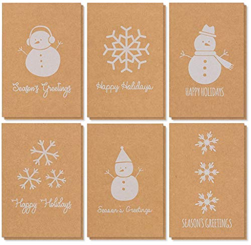 36-Pack Merry Christmas Holiday Greeting Cards Bulk Box Set - Winter Holiday Xmas Kraft Greeting Cards with Snowman and Snowflake Illustrations, Envelopes Included, 4 x 6 Inches - Recycled Business Cards