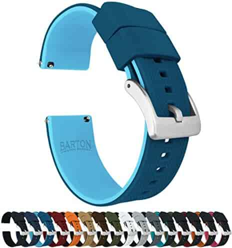 Barton Elite Silicone Watch Bands - Quick Release - Choose Strap Color & Width - Two Tone Blue (Flatwater) 20mm