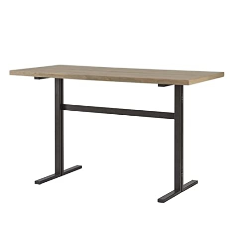 Industrial Rustic Barn Gray Wooden Counter Height Dining / Console Table  With Drop Leaf On Graphite