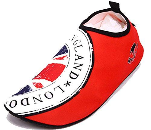 Flexible Outdoor-Schuh-Sport-Barfuß-Schuh Strandschuhe Wassersport Skin Schuhe Unisex für Schwimmen, Laufen, Schnorcheln, Surfen, Yoga-Übungen rot