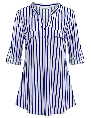 (Nandashe Cowgirl Shirts for Women, Mature Misses Sexy Deep V Collared Half Length Sleeves1968 Stripes Printed Valentine Winter Basic T-Shirts Western Shirts Size 10-12 L Blue and White)