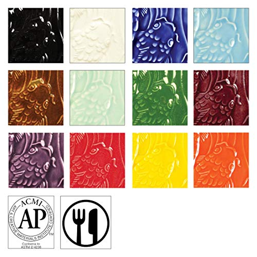AMACO Low Fire Gloss K to 6 Glazes Class Pack 2, Assorted Colors, Set of 12 Pints