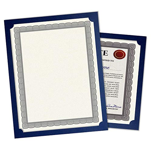 Plain Blue Certificate Holder - Set of 25, 9-1/2