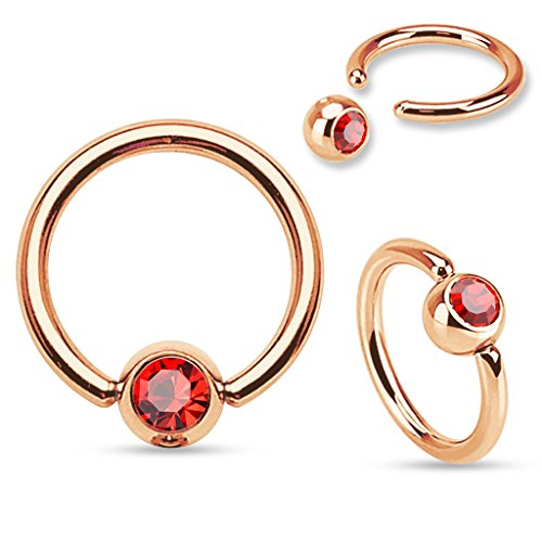 (Inspiration Dezigns Red Gem 16G 5/16 Rose Gold Ear 316L Surgical Steel Captive Bead Ring)