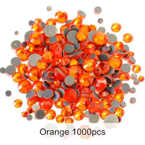 (BeesClover 1000PCS Mix Sizes SS6-SS30 Crystal DMC Hot Fix Rhinestones Flatback Glass Clear Hotfix Rhinestones for Clothing Decoration Y0016 Orange)