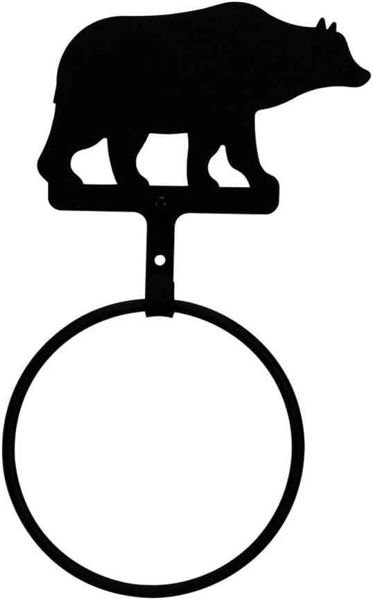 Wrought Iron Outhouse Hand Towel Ring Country Bathroom Holder Black Hardware