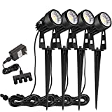 B-right 4 X 3W Outdoor Landscape Spotlights 4-in-1 Landscape Lighting with Stand Spike LED Pathway Lights 12V Low Voltage Waterproof for Lawn Patio Pathway Tree, Warm White, UL Plug