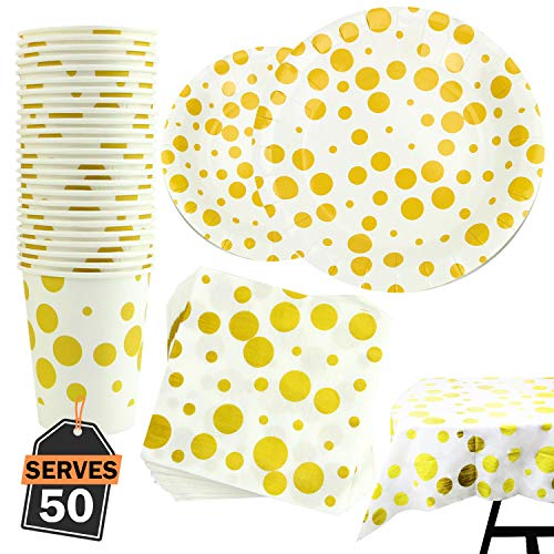 Birthday Paper Products (Party Supply Set, Including Plates, Cups, Napkins and Tablecloth (Polka)