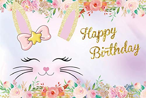 Baocicco 7x5ft Cartoon Bunny Happy Birthday Backdrop Blooming Flower Backdrop Photography Background Cute Smiling Cat Head Birthday Celebration Party Backdrop Children Baby Girls Portraits Photo Props