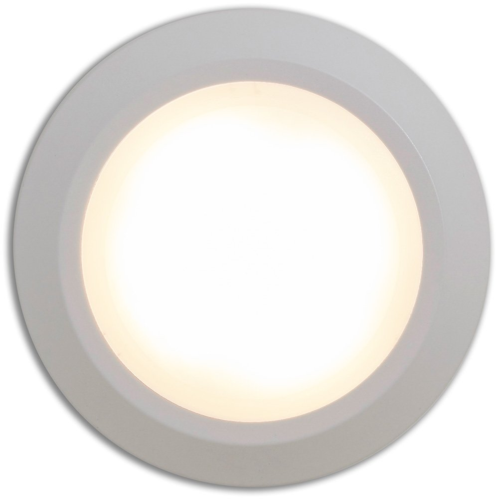 New Round Flush Mount Thin Ceiling Light |  LED Disc Shaped Thinnest Round Dimmable Lighting Fixture | Direct Wire Lights | No Drywall Work Required | 4000K Cool Light |8'' White by Hamilton Hills (Image #2)
