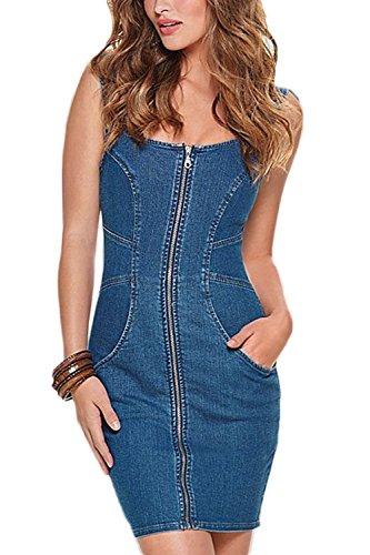 Bodycon Vestido Blue Bolsillos Vemubapis Mujer Cremallera con Bandage Denim PqIBIUZ56w