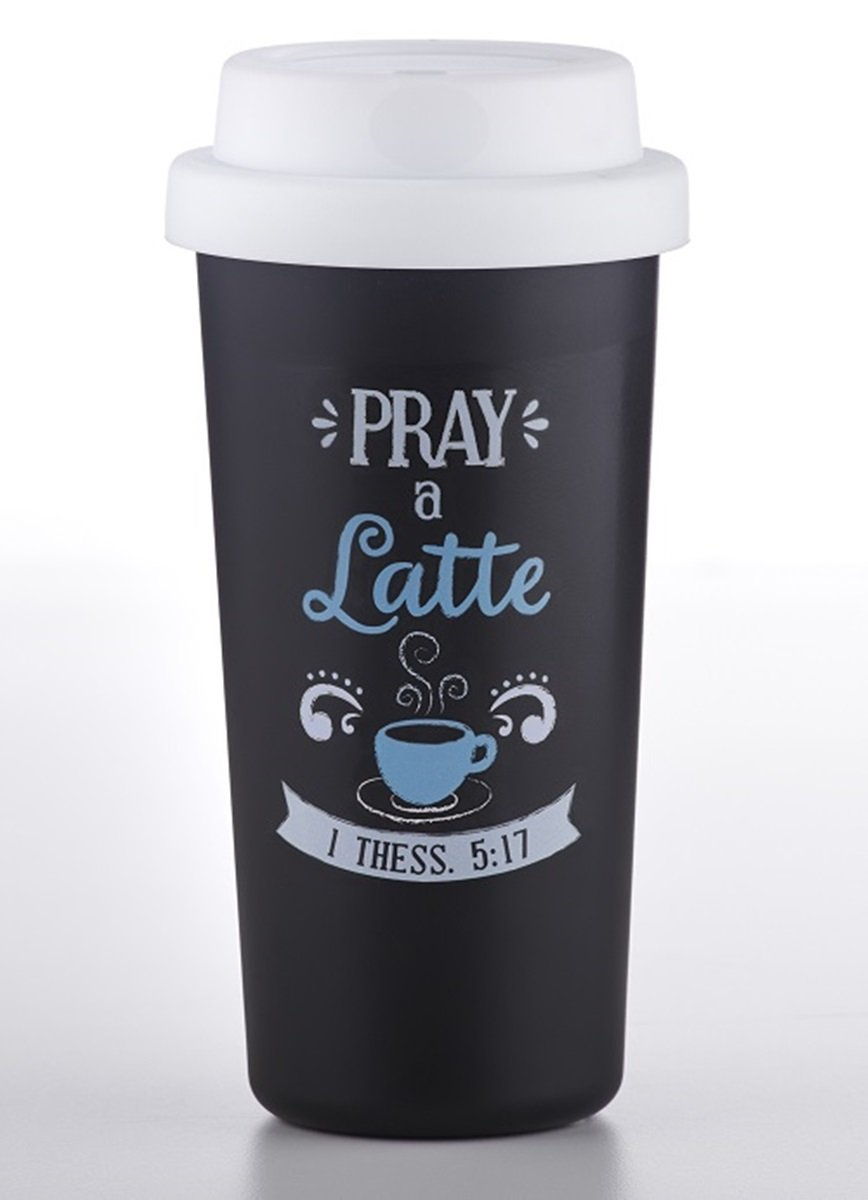 Pray a Latte Religious Double Wall Insulated Tumbler Cup, 12 oz by Religious Tumblers