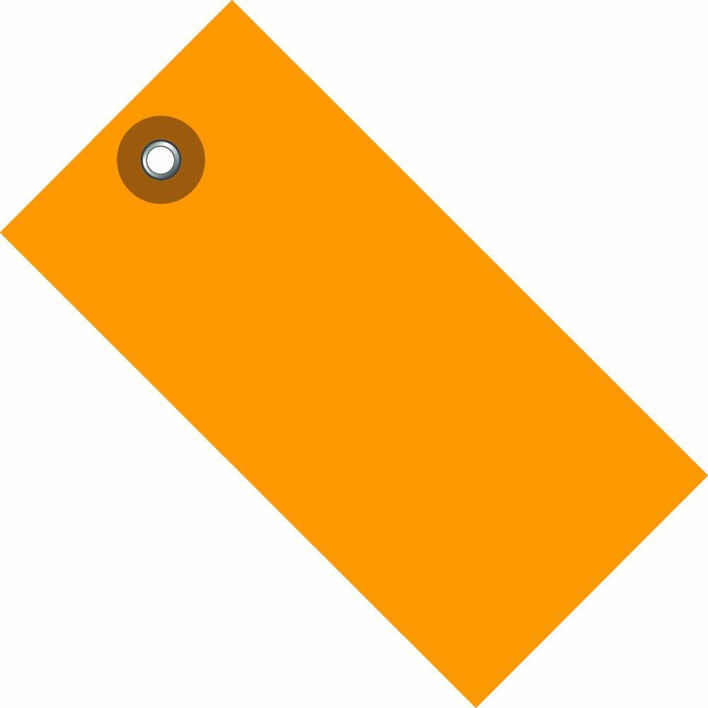 TYVEK Empty-Eyelet Shipping Blank Tag, Spunbonded Olefin, 4-3/4'' H x 2-3/8'' W, Orange (G14051E)