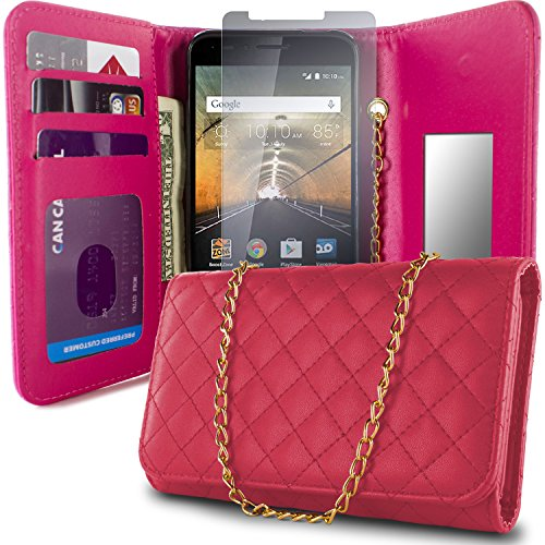 OneTouch Go Play Case, One touch Conquest Case, CoverON ClutchCase Series Phone Cover Purse + LCD + Mirror Handbag Carrying Case For For Alcatel One Touch Go Play / Conquest - Phones Tombile