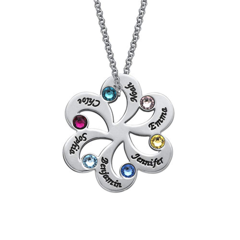 Mother Birthstone Jewelry Shiny Alice Birthstone Family Necklace for 6 Names Grandmother Jewelry