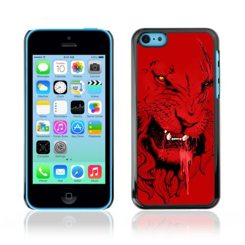 Designer Depo Etui de protection rigide pour Apple iPhone 5C / Angry Red Lion Tiger Cat