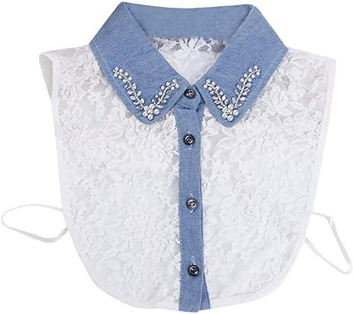 Lucky Mall Mujeres Rayas botón Blusas Cuello, falsches Cuello Camisa Cuello Desmontable, algodón, Blanco, AA: Amazon.es: Hogar