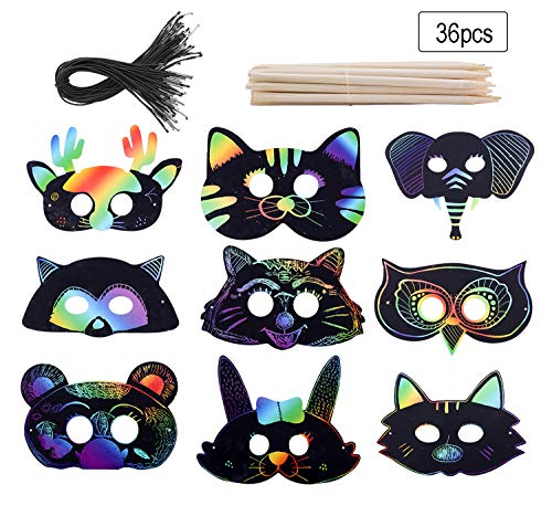 Fashionclubs Scratch Art Paper Rainbow Scratch Animal Masks,Owl Rabbit Tiger Wolf Bear Squirrel Fox Elk Elephant 36pcs Magic Scratch Paper Masks with Elastic Cords&Wooden Styluses for Kids Dress Up Costume Party Favors