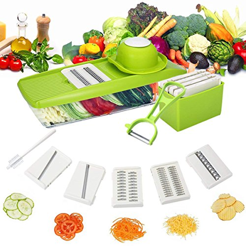 TAPCET Multi-function Food Slicer, Mandoline Vegetable Slicer, Fruit and Cheese Cutter, 5 Interchangeable Blades+Food Container+Peeler+Cleaning Brush+Blade Storage Box, Best for Carrot/Cucumber/Cheese